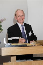 Sir David McMurtry signs Charter Book of the Royal Society