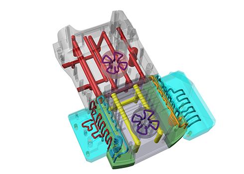 Novo projeto de molde para carcaça amarela traseira K2 com resfriamento conformal